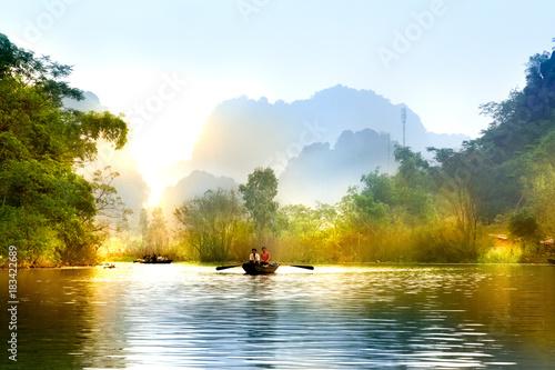 Poster de jardin Nénuphars Traveling by boat on streams YEN in Hanoi, Vietnam.