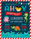 Cute cartoon marine life illustration for pirate theme party invitation card template