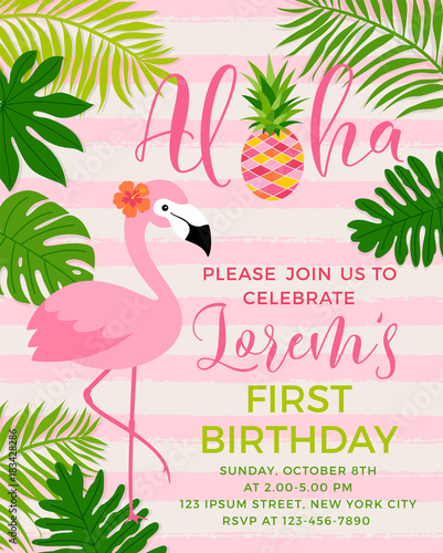 Flamingo And Tropical Leaf Illustration For Party Invitation