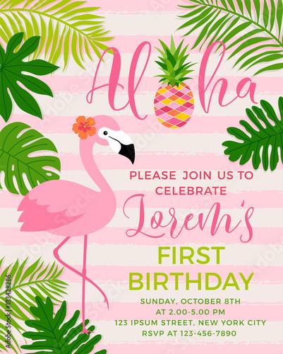 Fototapeta premium Ilustracja flamingo i tropikalny liść dla szablonu karty zaproszenie na przyjęcie