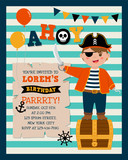 Cute pirate cartoon with stripes background for party invitation card template