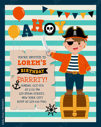 Photo Cute pirate cartoon with stripes background for party invitation card template