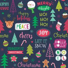 Colorful Cute Christmas Elemen...