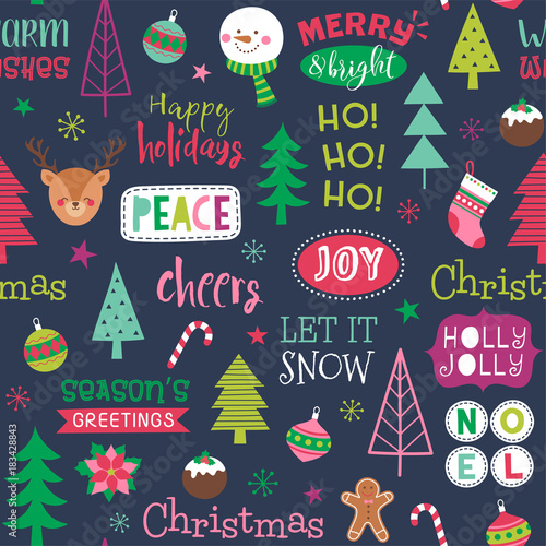 fototapeta na lodówkę Colorful cute christmas elements seamless pattern background