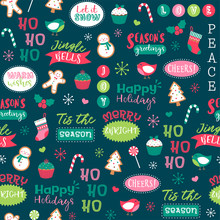 Cute Christmas Elements And Wo...