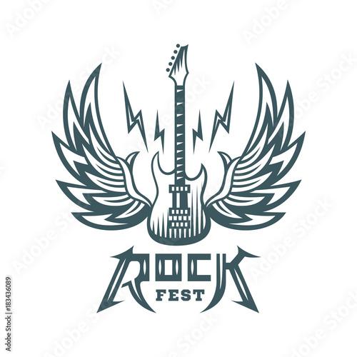Rock Sign Gesture For Music Festival Logo Illustration On A