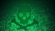 Green Skull Shape Of Binary Code On Computer Screen