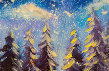 Fairy Forest, Christmas Big Snowy Fir Trees Against Background Of  Blue Sky Original Oil Painting Illustration, Beautiful Abstract Fairy Winter Forest On Canvas Postcard.