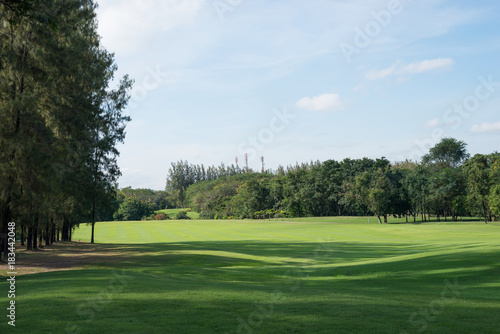 A lush green golf course under the blue sky.