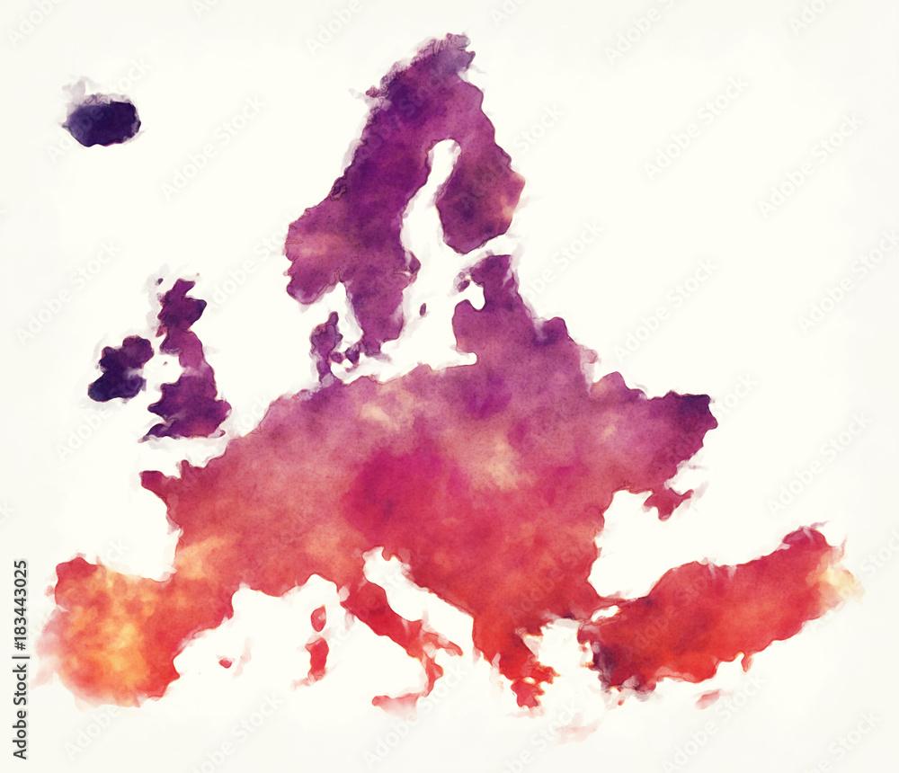 Europa akwarela mapa przed białym tle <span>plik: #183443025 | autor: Ingo Menhard</span>