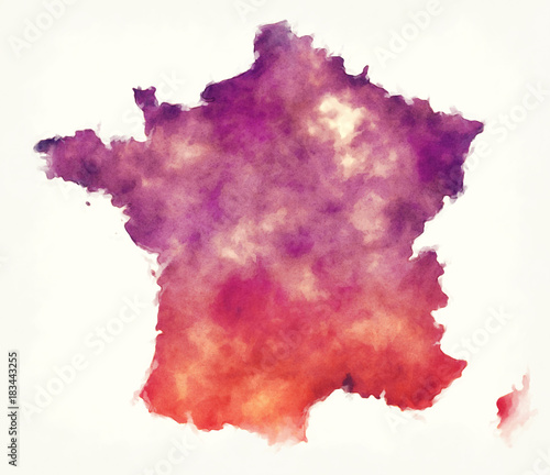 Canvas Print France watercolor map in front of a white background