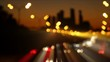 Motion blurred Night Highway Traffic.