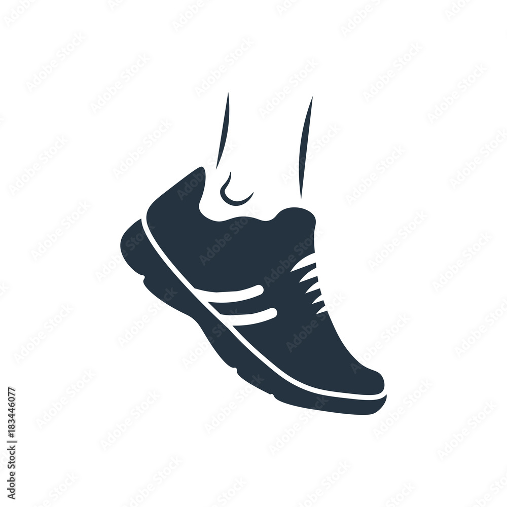 Fototapeta running shoes icon on white background, fitness, sport