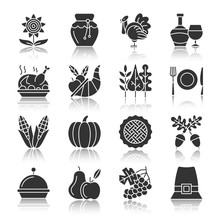 Thanksgiving Day Silhouette Icons With Reflection