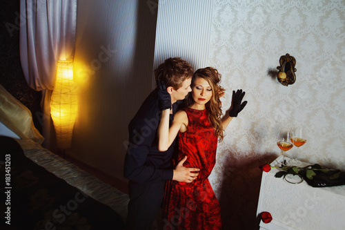 Foto op Aluminium Dance School Young lovers are passionately embracing in bedroom. Concept of happy family.