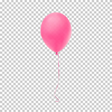 Realistic Pink Balloon.