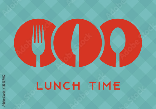 Fotografía  Lunch time with cutlery icons over green tablecloth