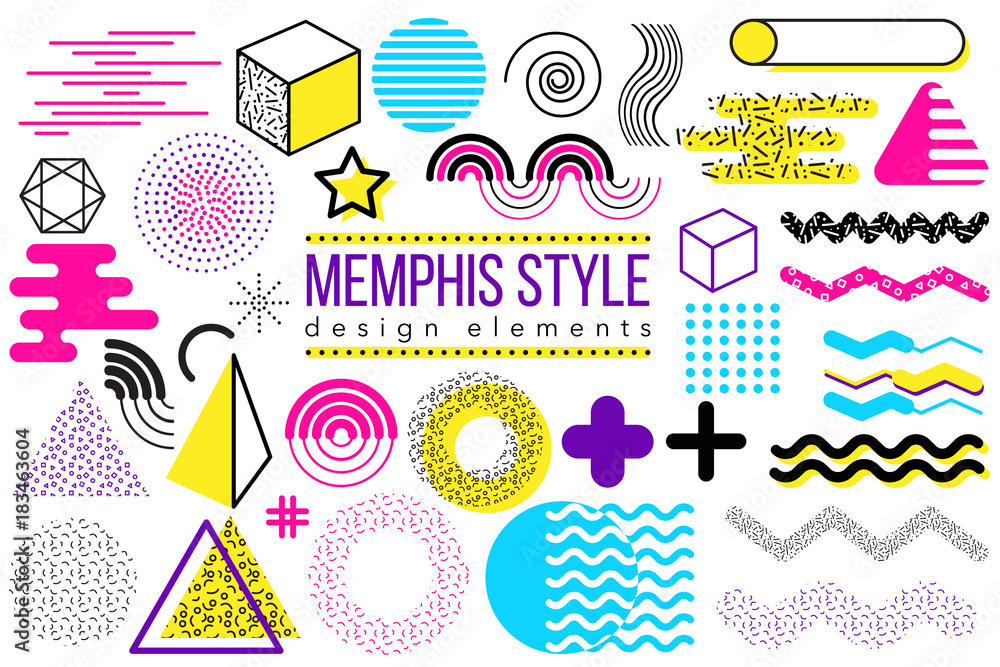 Fototapeta Abstract vector design elements set. Memphis style geometric shapes and forms collection to create poster, brochure, layout, template or presentation. Easy to combine and edit