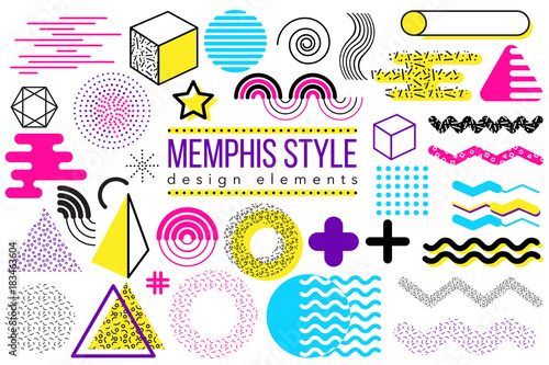 Obraz Abstract vector design elements set. Memphis style geometric shapes and forms collection to create poster, brochure, layout, template or presentation. Easy to combine and edit - fototapety do salonu