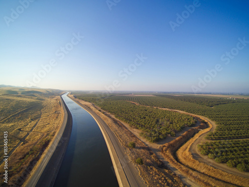 Aerial view above California aqueduct Wallpaper Mural