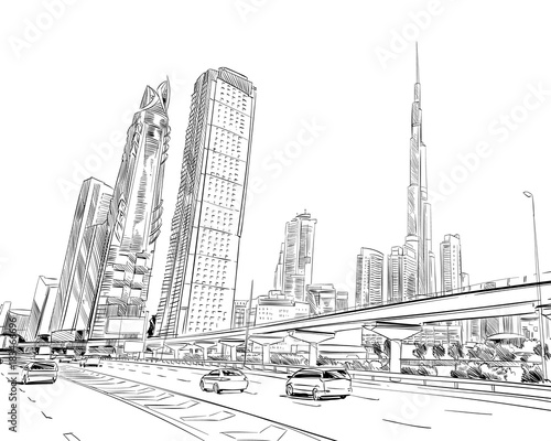 Fototapeta premium Dubai. United Arab Emirates. Hand drawn city sketch. Vector illustration.