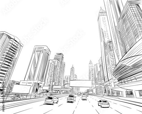 Naklejka premium Dubai. Zjednoczone Emiraty Arabskie. Ręcznie rysowane szkic miasta. Ilustracji wektorowych.