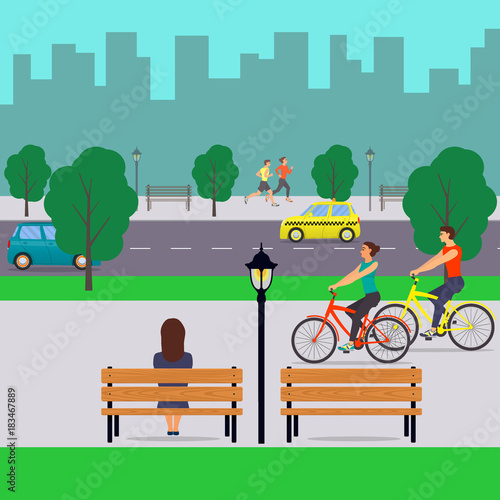 Poster Turquoise Urban landscape and people. City street with cars, cyclists, pedestrians, trees, tall buildings, benches, streetlights. Vector illustration in flat style.