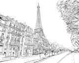 Fototapeta Fototapety Paryż - Eiffel Tower vector sketch. Paris, France. Hand drawn vector illustration