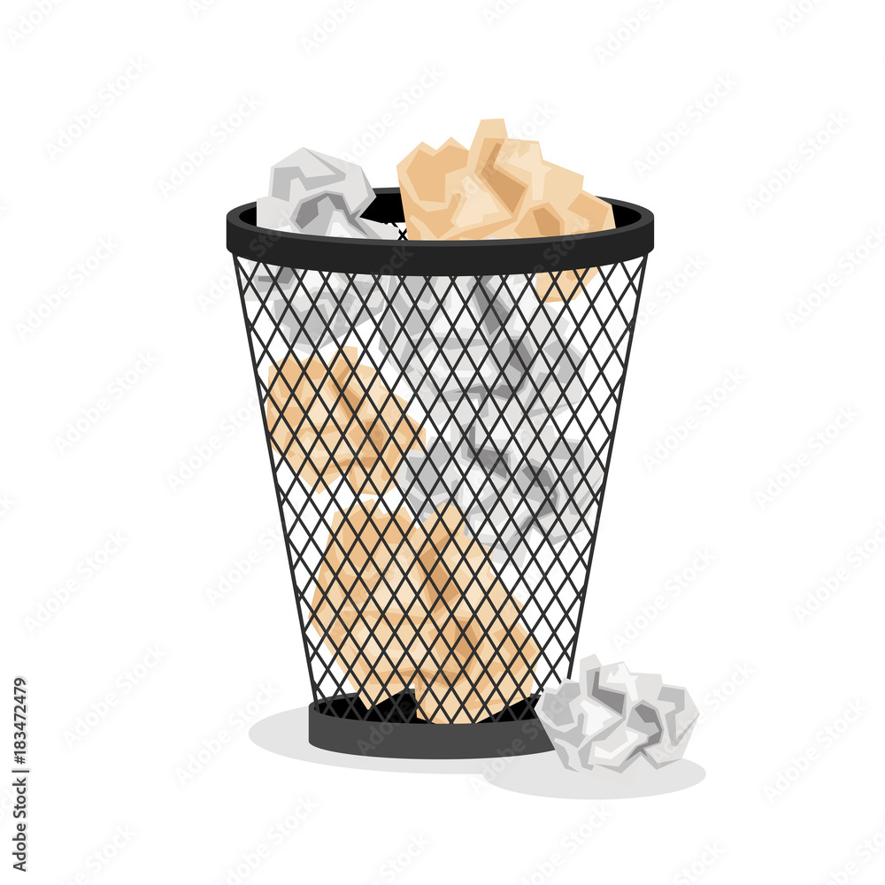 Fototapeta Office basket with crumpled paper