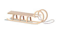 Wooden Sled Isolated On White....