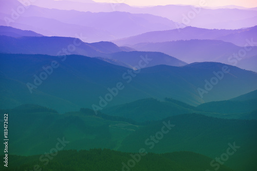 Fototapeta Carpathian mountains summer sunset landscape with abstract gradient of mountain peaks in blue colors, natural travel outdoor background obraz