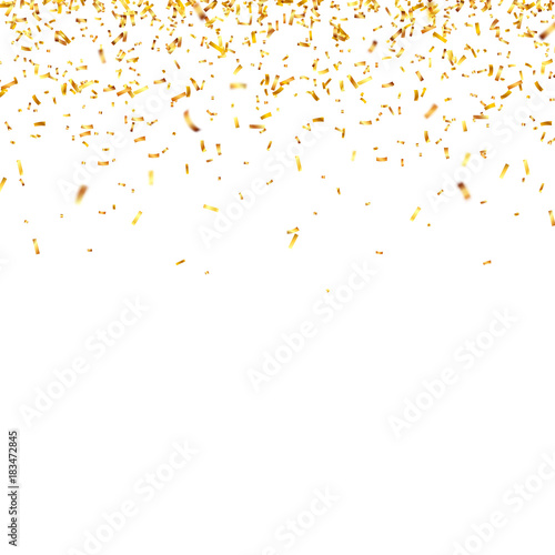Obraz Christmas golden confetti. Falling shiny confetti glitters in gold color. New year, birthday, valentines day design element. Holiday background. - fototapety do salonu