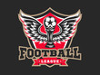 Soccer football logo, emblem designs templates on a dark background