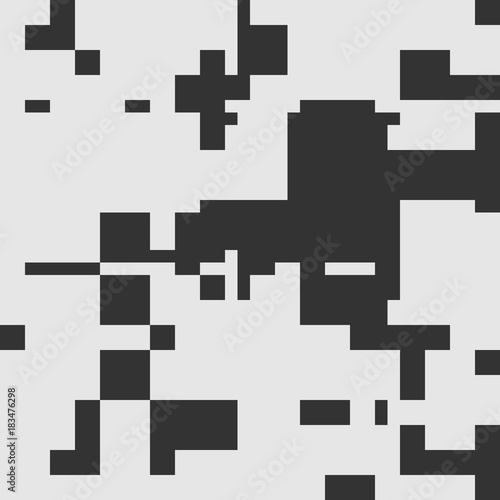 Poster Pixel Black and White Abstract Rectangles Art Graphic Design