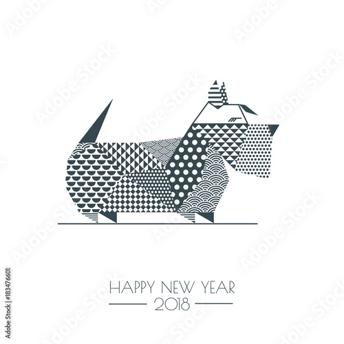 vector black white illustration of scottish terrier dog with abstract geometric triangle texture creative new