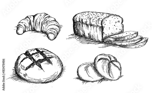 Beautiful hand drawn bread det vector Canvas Print