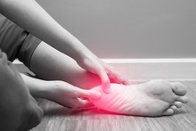 Female Foot Heel Pain With Red...