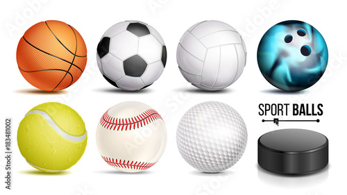 Spoed Foto op Canvas Bol Sport Ball Set Vector. 3D Realistic. Popular Sports Balls Isolated On White Background Illustration