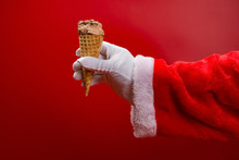 Santa Claus Holding An Ice Cre...
