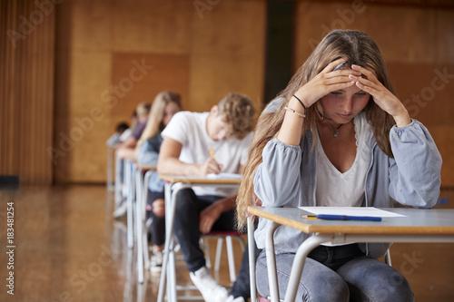Fotografie, Obraz  Anxious Teenage Student Sitting Examination In School Hall
