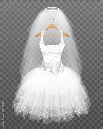 Fotomural White Wedding Dress on Hanger with Veil on transparent background