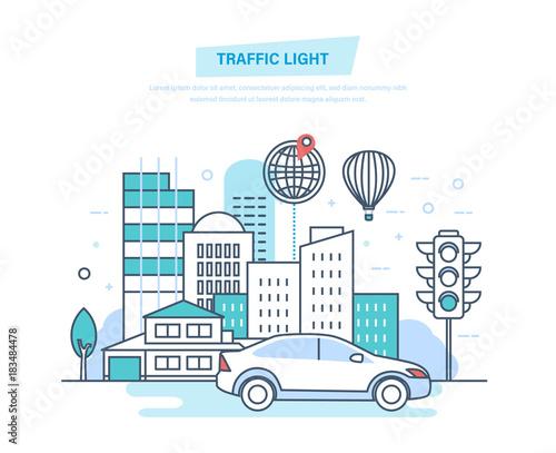 Urban landscape, street city, city transport, traditional street traffic light.