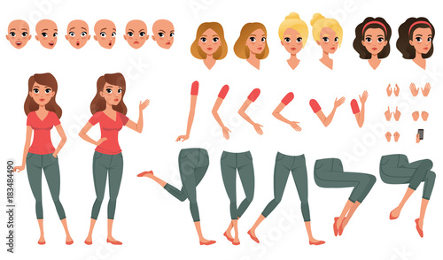Pretty young woman constructor in flat style. Parts of body legs and arms , face emotions, haircuts and hands gestures. Vector cartoon girl character