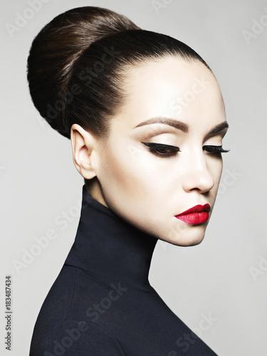 Fototapety, obrazy: Beautiful elegant woman in black turtleneck