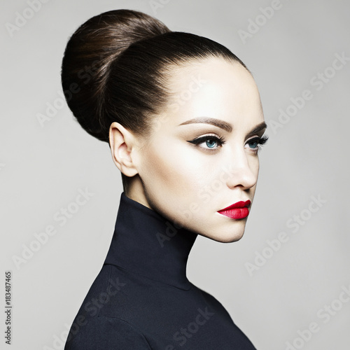 Beautiful elegant woman in black turtleneck Canvas Print