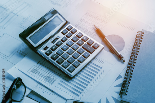 business accounting concept financial with calculator pen notbook on desk Wallpaper Mural