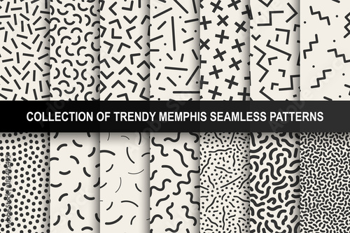 Fotografia  Collection of memphis seamless patterns
