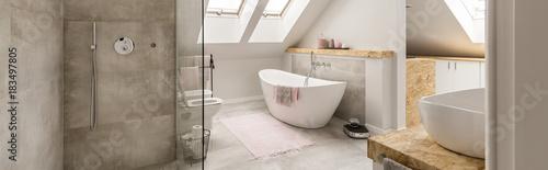 Fotografie, Tablou Grey bathroom in attic