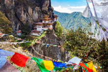 View Of Taktshang Monastery On The Mountain