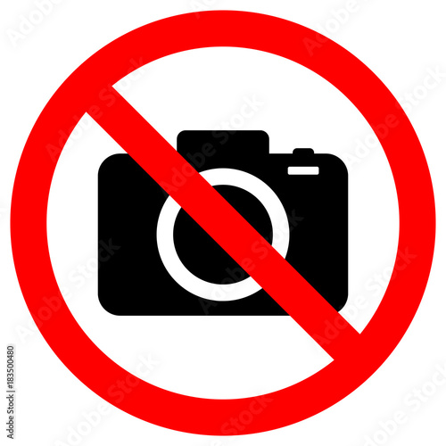 Obraz NO CAMERAS ALLOWED sign. Flat icon in red crossed out circle. Vector. - fototapety do salonu